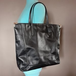 Large leather coach tote
